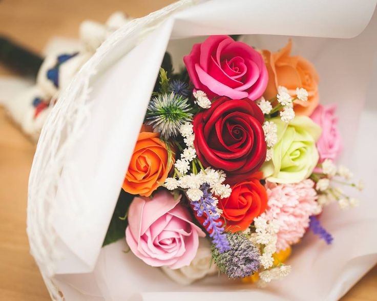 """- dozen roses soap flowers assorted color flowers. - Measures appoximately 14""""(36cm) Length - Includes at least 1 different Bushes and Bushes will vary - ITEM # : M1627 - Price : $70 - Delivery : fee not included email us for detail of delivery #www.keziaherez.com #Order keziaherez@gmail.com #mother's day gift #happybirthday gift #valentinesday gift #soapflower #love #flower stagram #flower"""