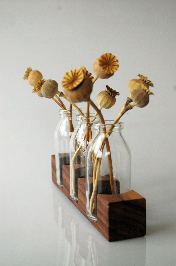 wood vase romantic wood vase wallnut by Myflowermeadow on Etsy