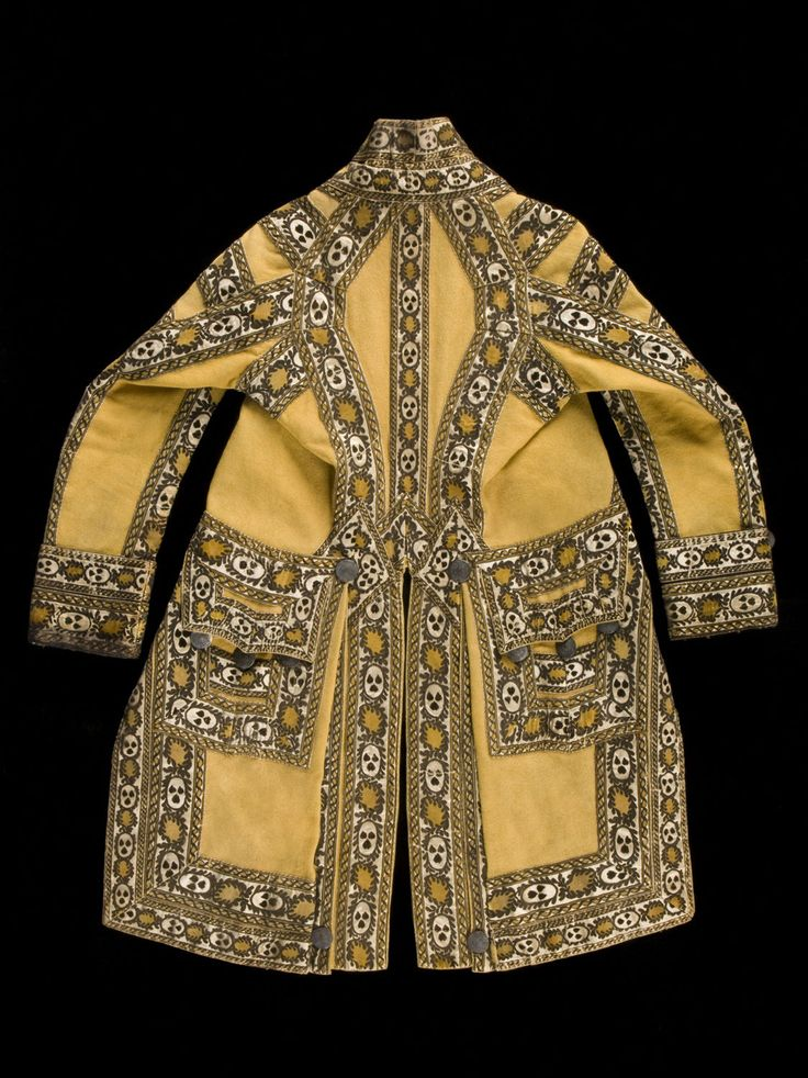 Footman's or groom's livery coat, wool broadcloth trimmed with satin and lampas ribbon and brass buttons, 1813-29, Austrian.