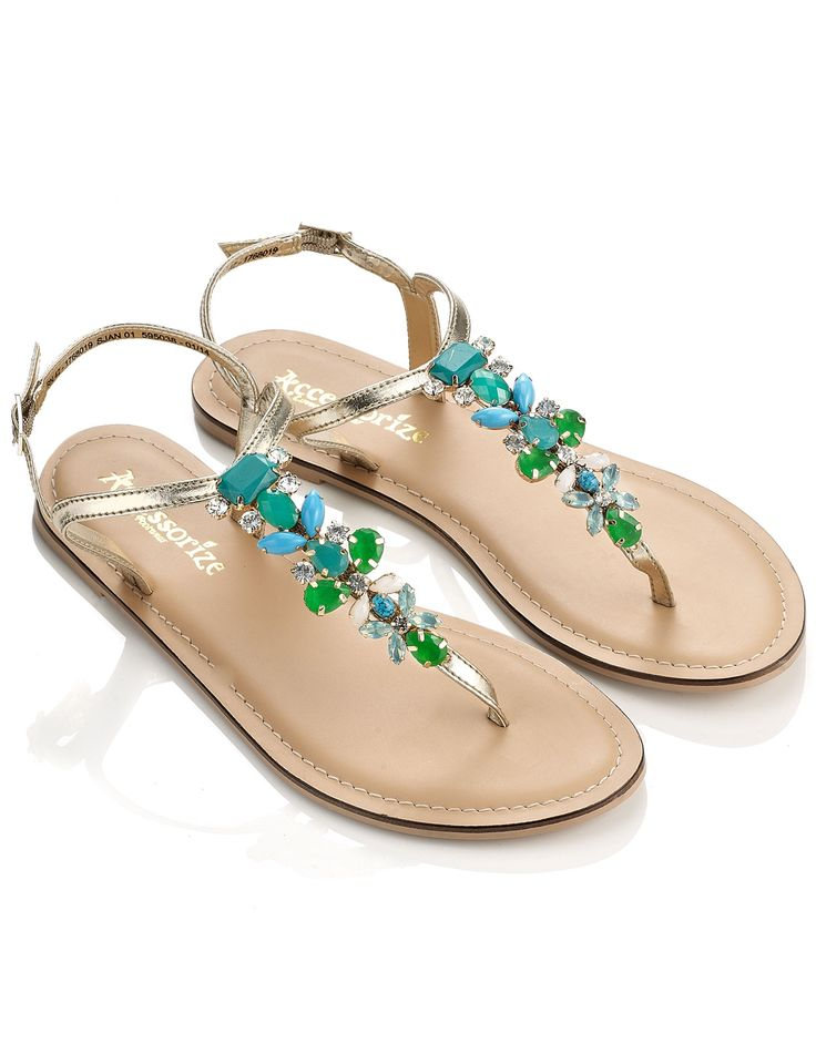 Stone Thong Sandals | Blue | Accessorize
