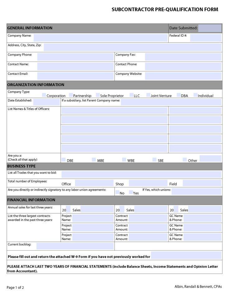 ARB Subcontractor Prequalification Checklist Checklist