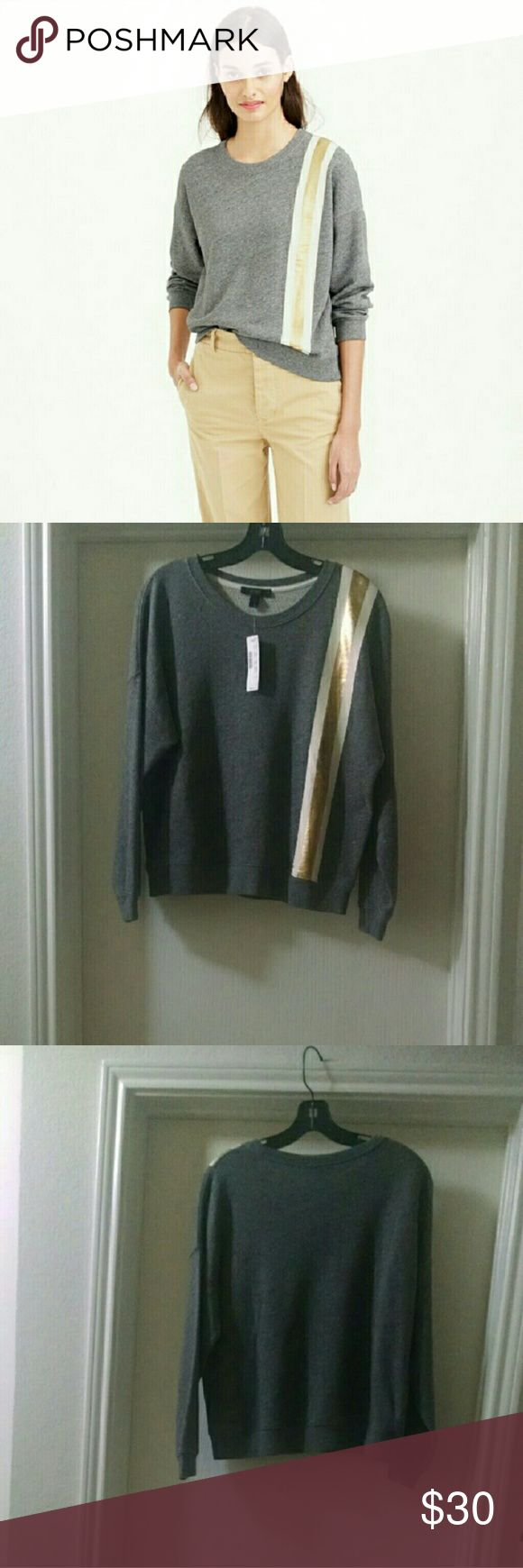 J. Crew Racing Stripe Sweatshirt (S) NWT The classic sweatshirt made even sportier by adding a graphic racing stripe.  Cotton. Machine wash. Loose fit. J. Crew Tops Sweatshirts & Hoodies