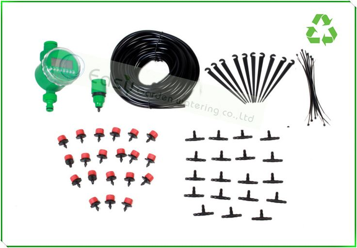 Spray and Drip irrigation system with digital timer. Micro irrigation.self irrigation for flower pot and hanging basket