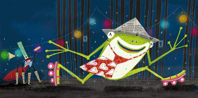 "juanbjuan children illustration: Happy frog ( from ""Fiesta de animales"" )"