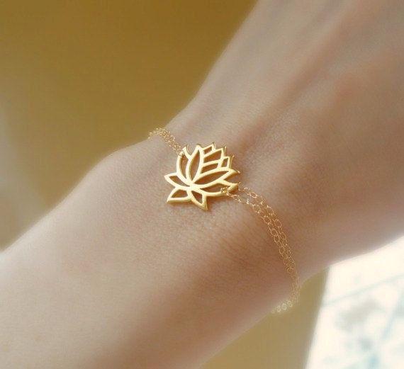 Lotus bracelet, gold bracelet, lotus jewelry, yoga jewelry, buddhist, delicate, thin, skinny bracelet