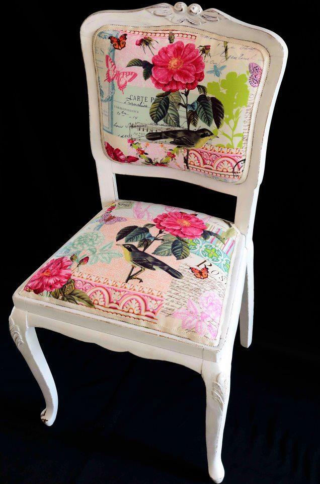 Silla tapizada  www.charlieylolatextil.com  Charlie y Lola Deco-Textil (Facebook)