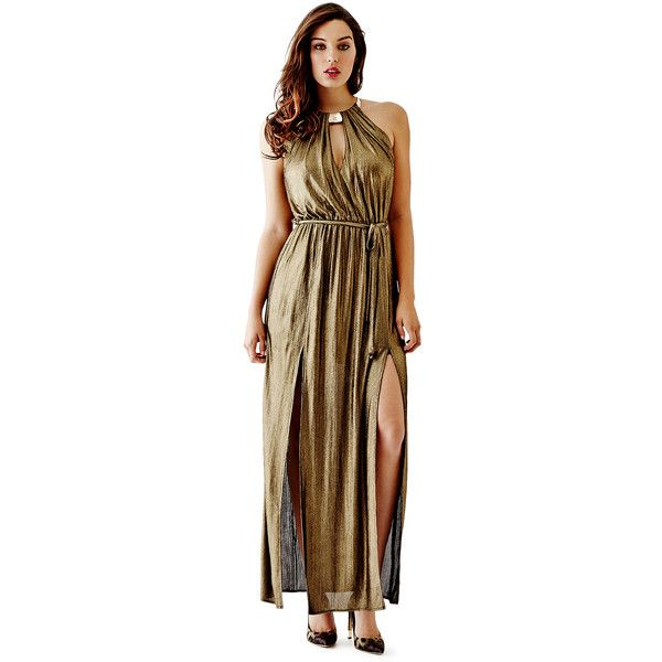 GUESS Cora Metallic Maxi Dress ($118) ❤ liked on Polyvore featuring dresses, gowns, gold, halter dress, halter gown, holiday dresses, white ball gowns and white maxi dress