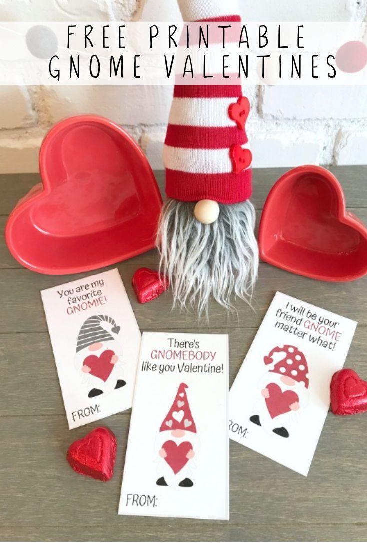 Printable Gnome Valentines Printable Valentines Cards Valentines Printables Free Valentines Day Cards Diy