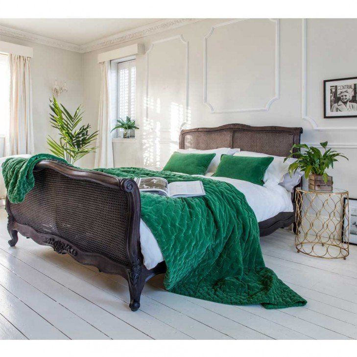 Charcoal Rattan Bed With Emerald Green Velvet French Bedspread