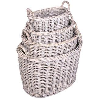 Oval grey wash rattan baskets
