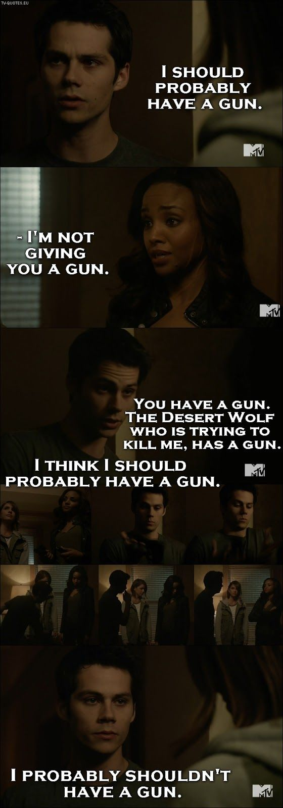 "Teen Wolf - Stiles | I remember watching this and saying ""A gun? Do you even know how to hold a gun?"" And then he dropped it and I laughed my ass off. Called it. He's an idiot and I love him. Ha! <3"