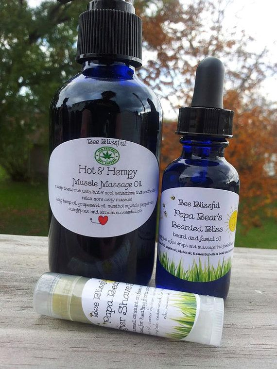 JUST FOR HIM Men's Bearded Bliss Massage Oil by BeeBlissfullyYou, $19.99