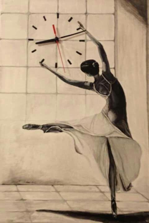 35*50 tuval akrilik boya saat çalışıyor kızımın bale okuluna yaptığım ilk resim