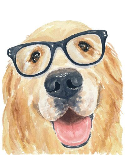 Title: Happiness    With a smile this big how can you not smile back?    This is a PRINT of my original watercolor painting of a nerdy Golden