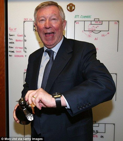 Sir Alex Ferguson- I'll drink to that! Sir Alex Ferguson led the celebrations as Manchester United celebrated winning the Barclays Premier League on Monday