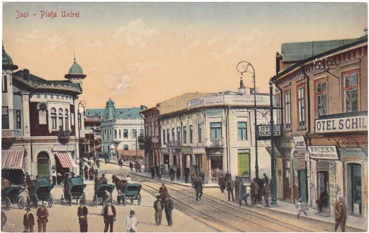 """Piata Unirii cu Hotelul """"Europa"""" si inainte de Palatul """"Braunstein"""", Iasi, Romania"""