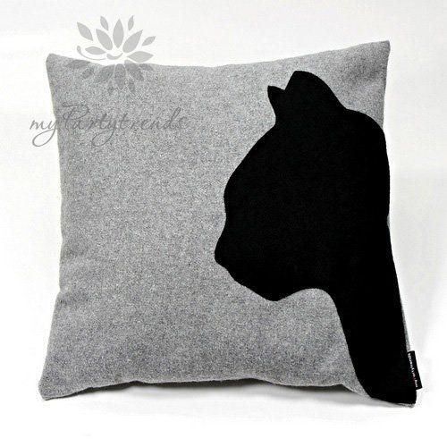 Dekokissen, Sofakissen 'cathead', grau, 40 x 40 cm, Kissenbezug inkl. Füllkissen, Katzenkissen, Katzenmotiv, Zierkissen, Schmusekissen: Amaz...