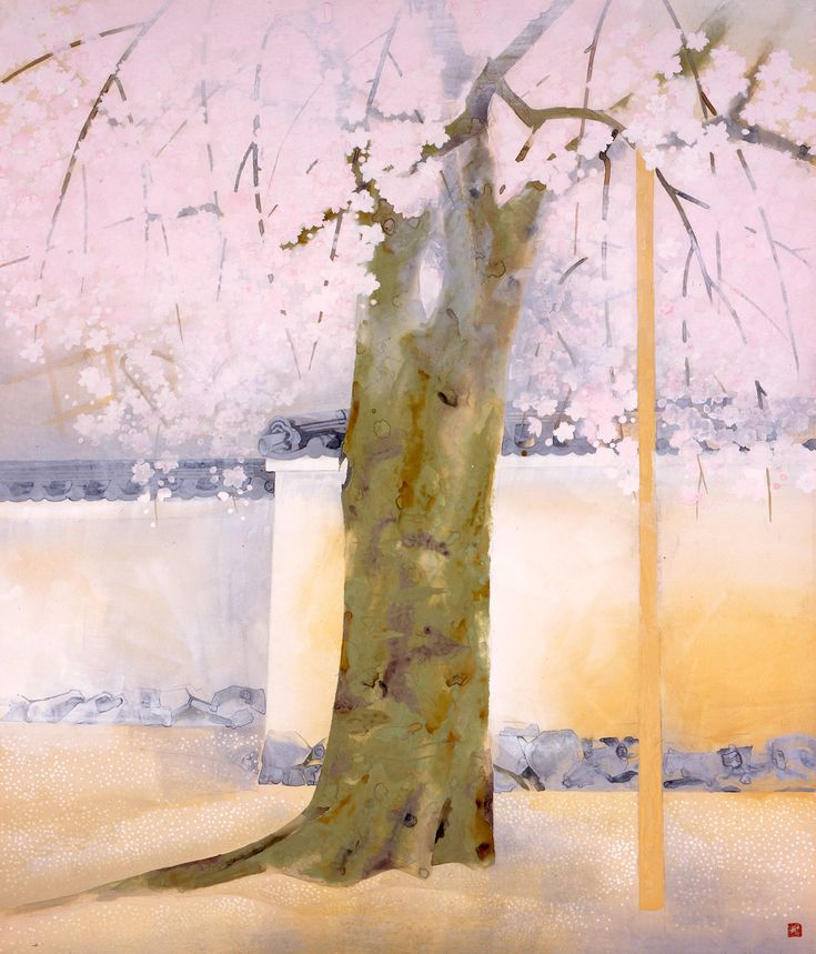 Cherry Blossoms at Daigo-ji Temple - by Japanese artist Okumura Togyu 奥村土牛 《醍醐》1972(昭和47)年 紙本・彩色山種美術館蔵