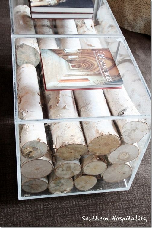 Birch logs inside a lucite coffee table - beautiful