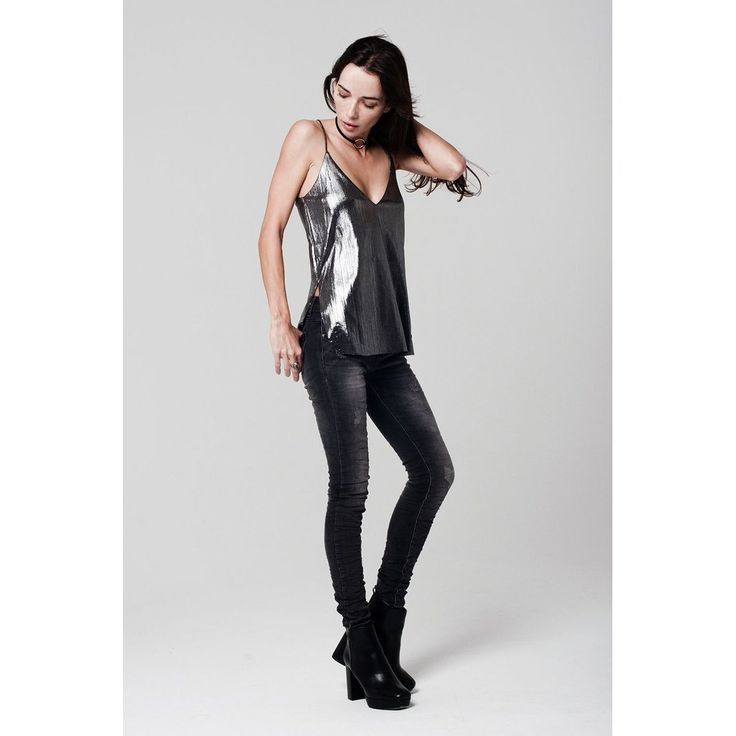 Shimmer silver Cami Top with Back Detail