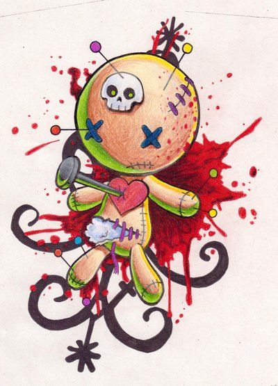 voodoo doll -- I kinda like this, maybe not so, umm, gory nor that symbol in background. lol