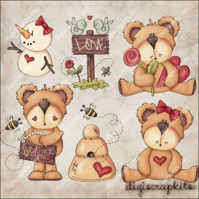 Sweetie Bears 1 Clip Art Set
