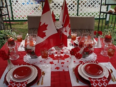 Awesomely red, white, and maple leaf filled Canada Day party decor. #party #Canada #Canadian #Canada_Day #decor #red #white #flag