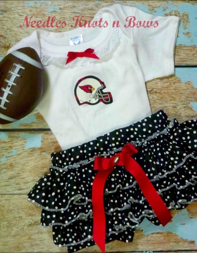 Girls Arizona Cardinals Cheerleader Outfit, Baby Girls Cardinals Coming Home Outfit, Girls Football Bloomer Outfit