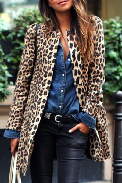 Piel de leopardo mangas abrigo largo Sexy