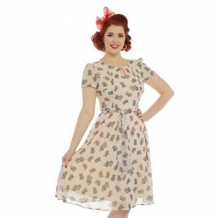 Bretta kremfarget kjole med kattunger på