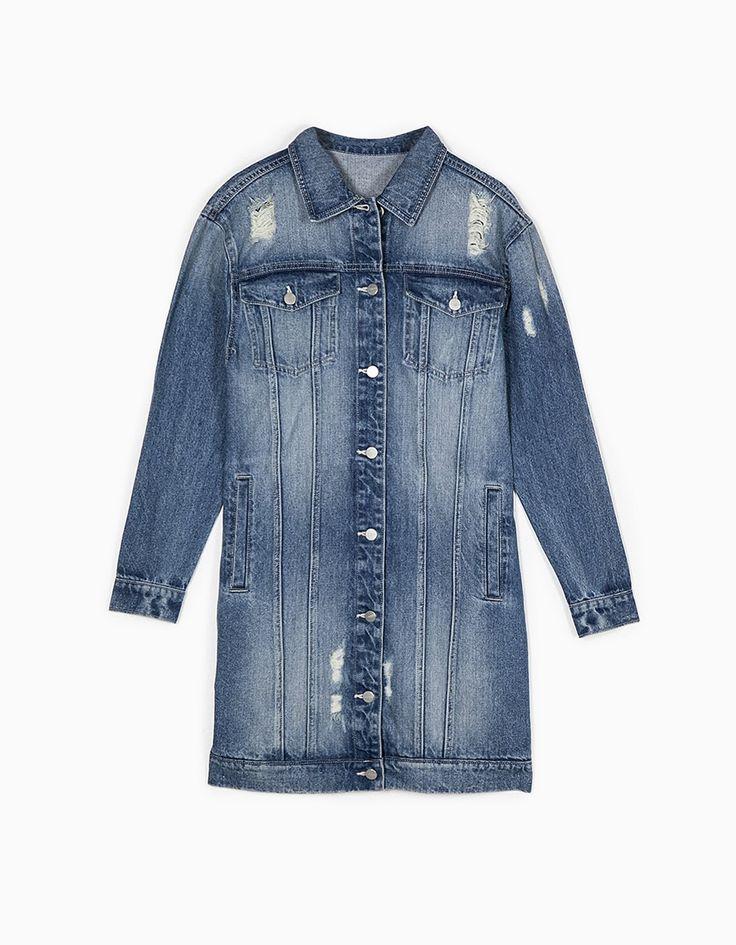 Длинная джинсовая куртка - Куртки И Жакеты   Stradivarius Россия