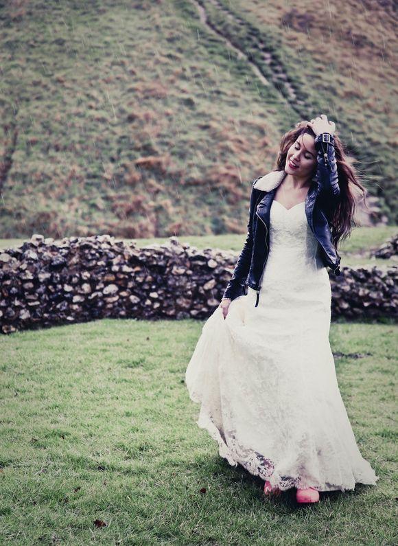 lace wedding dress and leather biker jacket