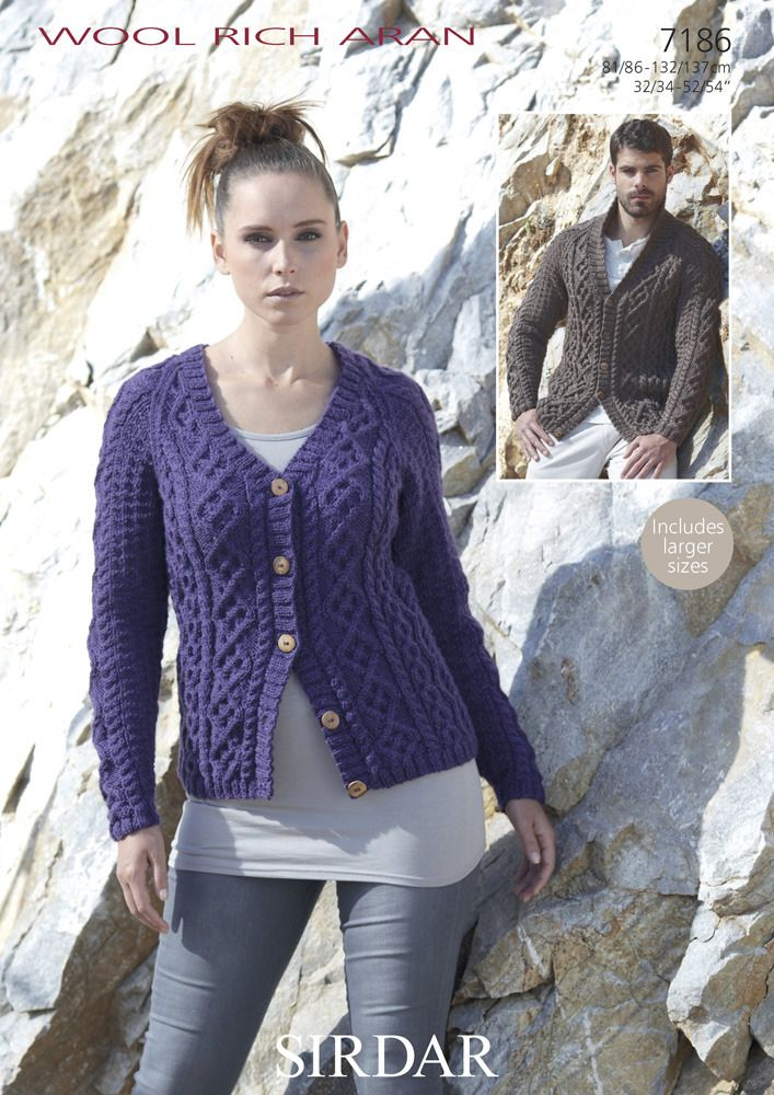 V-Neck & Shawl-Collared Cable Cardigans in Sirdar Wool Rich Aran - 7186. Discover more Patterns by Sirdar at LoveKnitting. We stock patterns, yarn, needles and books from all of your favorite brands.