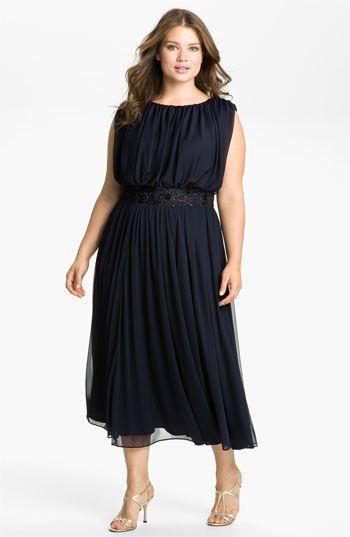 Alex Evenings Blouson Mesh Midi Gown (Plus) | Nordstrom