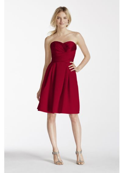 Extra Length Short Strapless Satin Dress 2XLF17001