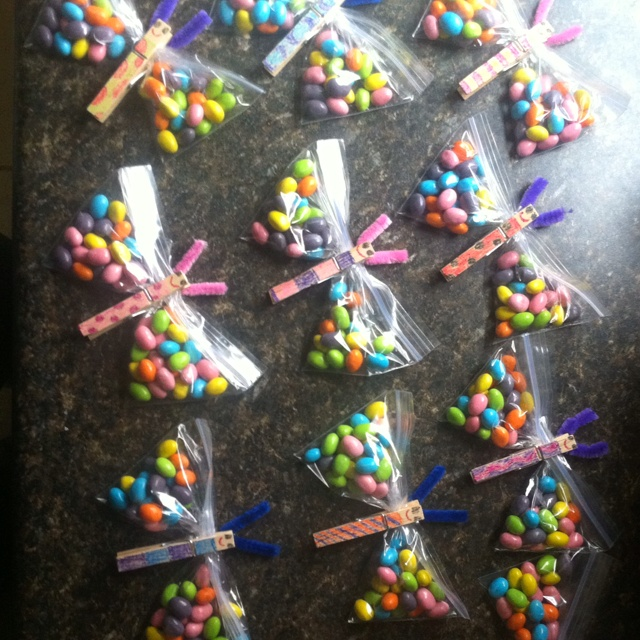 One of Elias's dragonfly (or butterfly) treats for his 1/2 birthday party at school. Filled with starburst jelly beans, the kids loved them!