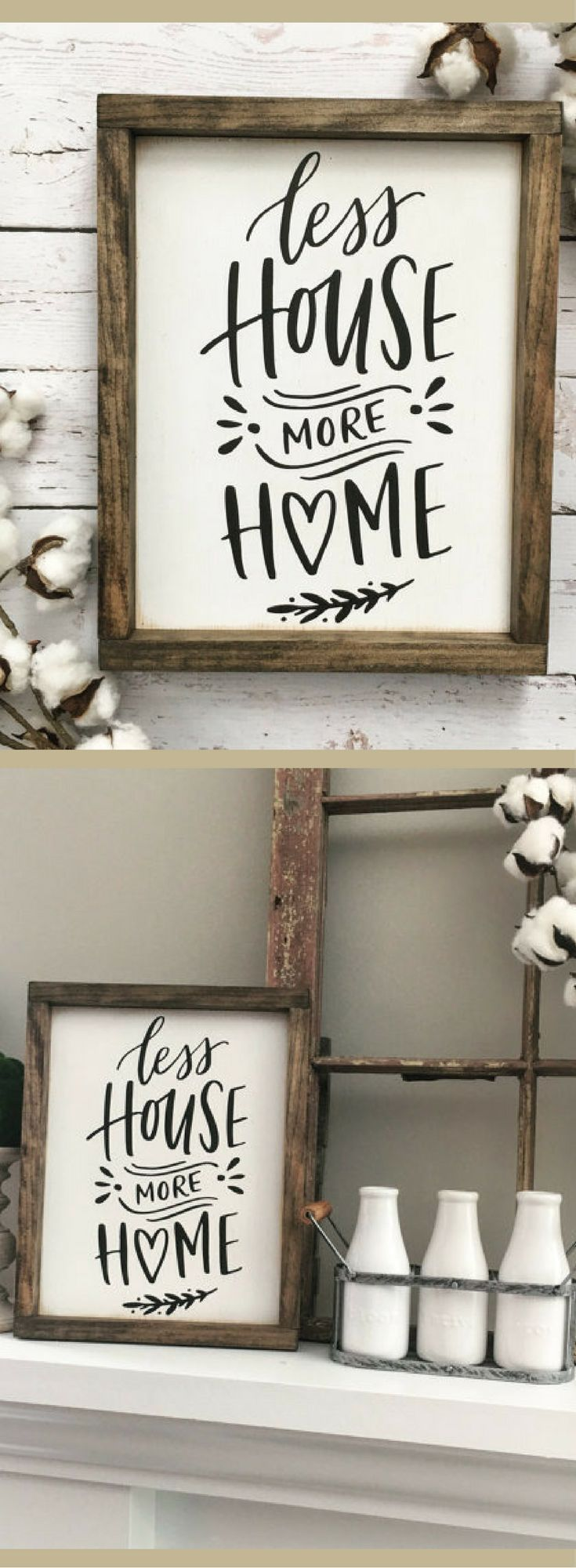 Less House More Home Sign, Farmhouse Sign, Rustic Wood Sign, Housewarming Gift, Rustic Gallery Wall, Framed Wood Sign, Farm Home Sign, Family decor #affiliatelink