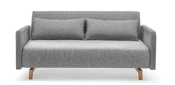Canapé Convertible Design Stockholm Gris - Piétement Bois - Meuble SoDezign - Face