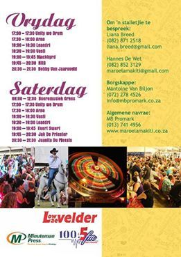 Imagine spending the weekend in the company of BlackByrd, Bobby van Jaarsveld, Jak De Priester, Juanita Du Plessis and so many more incredible artists? Interested? Secure your accommodation now for the infamous 'Maroela Makiti' on Friday and Saturday the 30th and 31st January! See more on this stunning weekend by visiting http://www.maroelamakiti.co.za/ NOT TO BE MISSED!