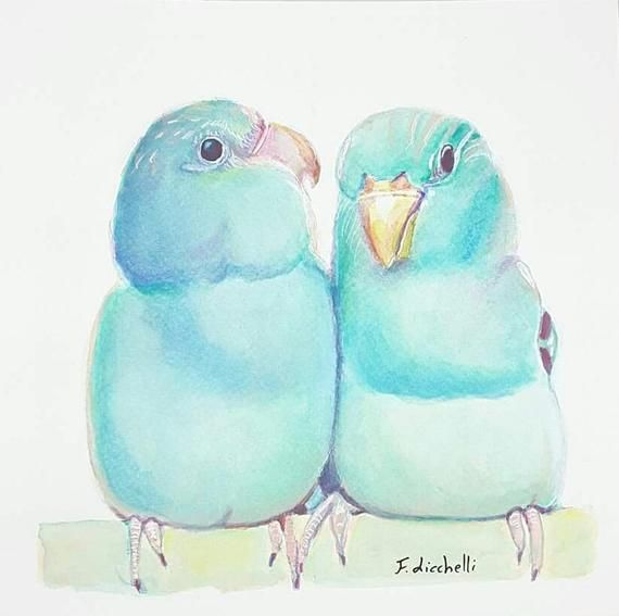 Blue Birds Watercolor Original Painting Turquoise Tropical Birds