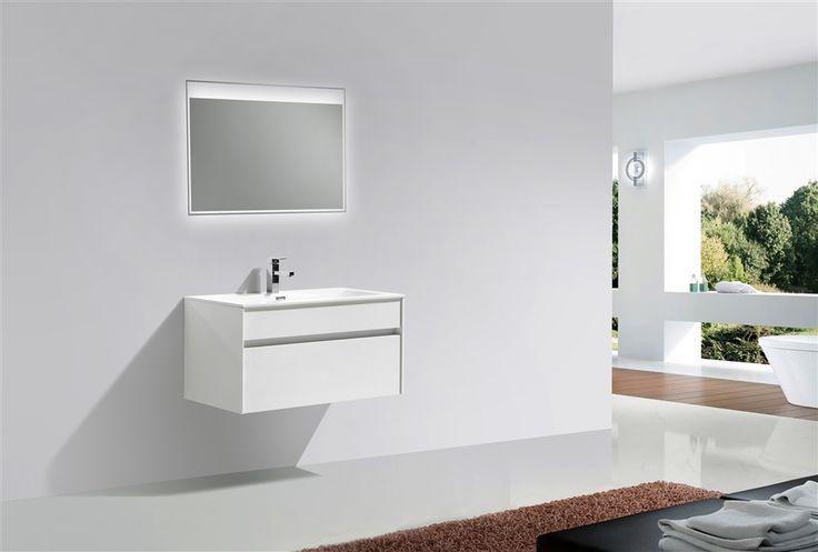 "Tona 36"" High Gloss White Wall Mount Modern Bathroom Vanity"