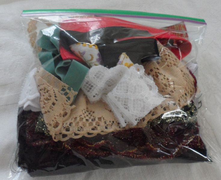 Bag of Vintage Fabrics and Trims/Crazy by BAGLADYFROMTHEBAY