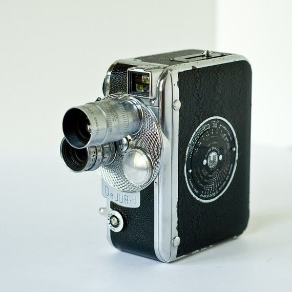 Vintage 1950's DeJur Fadematic DC-300 Turret 8mm Camera with 2 lenses and manual