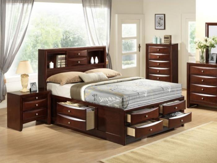 Mb117 Contemporary Espresso Queen Storage Bed Taft Furniture