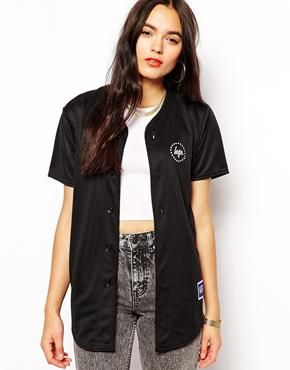 Hype Button Up Baseball Jersey Top With Back Logo
