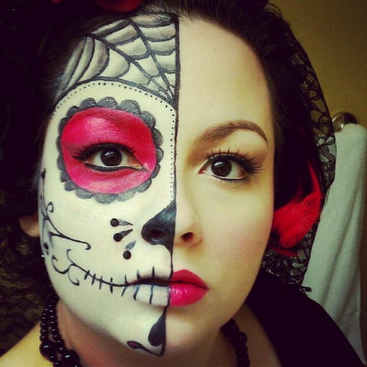 dia de los muertos sugar skull makeup halfface halloween