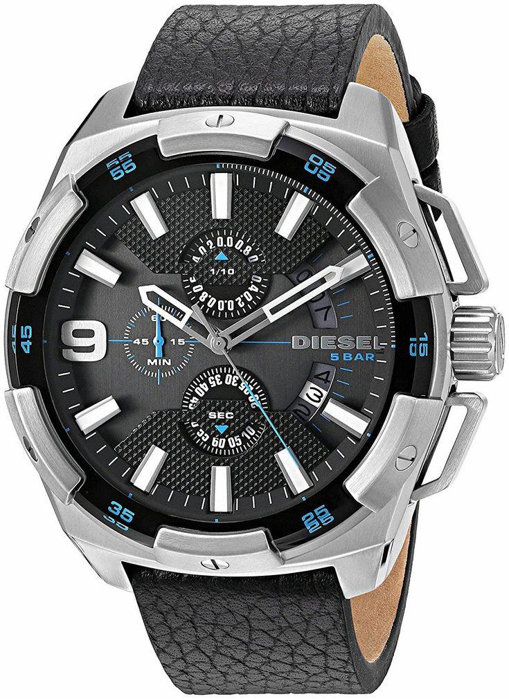 Heavyweight watch for real men. DIESEL Heavyweight Stainless Steel Black Leather. Only the strong survive.  #DIESEL  #KhaValeri  www.pinterest.com/KhaValeri kha_amz_DIESheavy0305_v29