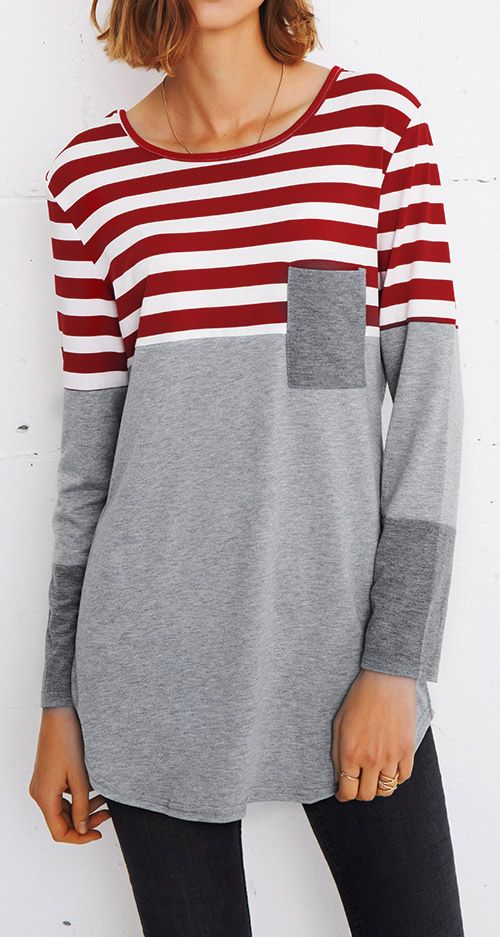 $19.99 Only with free shipping&easy return! This striped splicing top is detailed with front pocket&great stretch! It is essential to your wardrobe. Get it at Cupshe.com