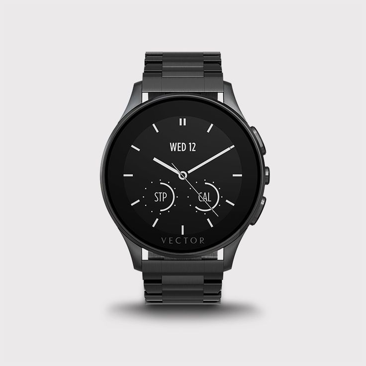 Compatibility: iOS, Android, Windows Phone  Battery Life: 30 days   This Vector Luna smartwatch has all the characteristics of fine watchmaking, enhanced with an unprecedented 30-day battery life, combining refinement and technology.   It's water resistant up to 50 meters and its always-on, monochrome screen displays the time without pressing a button.