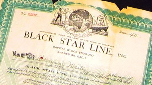 Marcus Garvey & the Black Star Line Steam Ship purchased with the intent to help Blacks immigrate back to Africa.